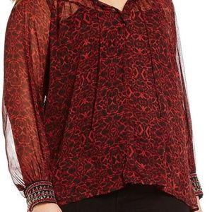 Jessica Simpson Red Black Beaded cuffs  Blouse